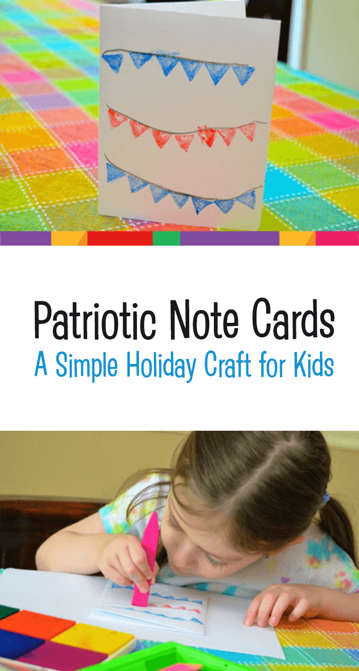 Patriotic Note Cards Craft Project for Children - Celebrate Memorial Day, Independence Day or Labor Day with this fun (and simple!) preschool art project for kids. *Love how easy this idea is!