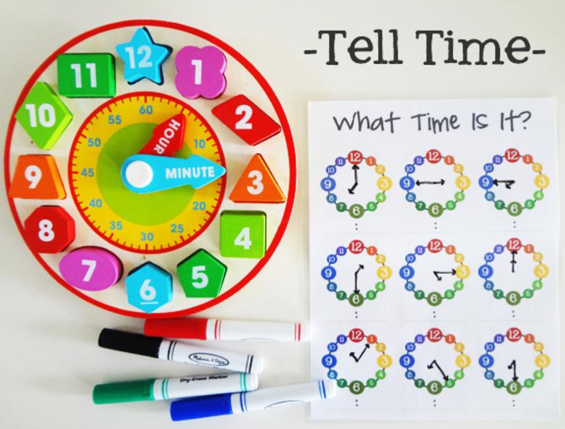 prepare for kindergarten tell time