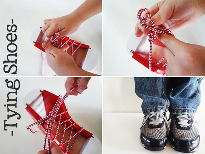 preparing for kindergarten tying shoes