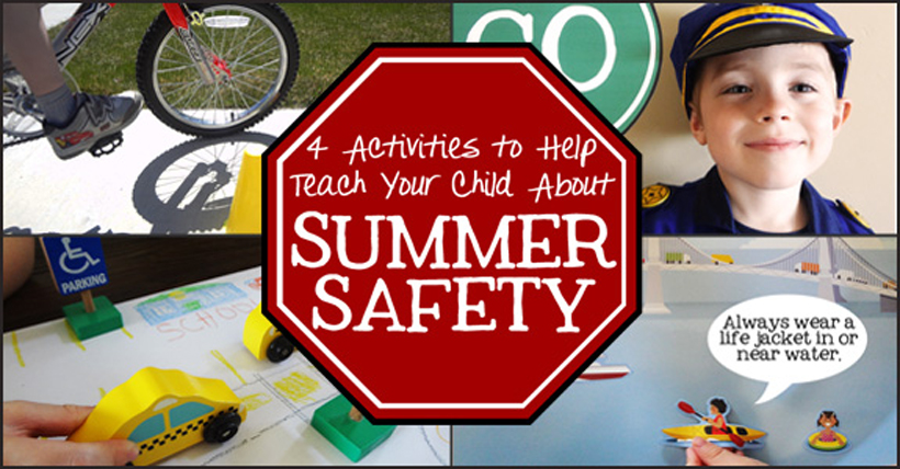 4 activities teaching summer safety title block
