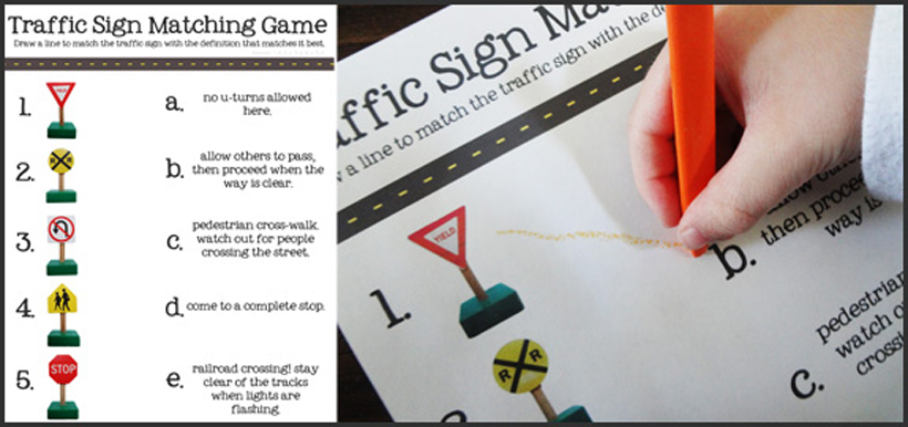 4 activities teaching summer safety traffic sign matching game