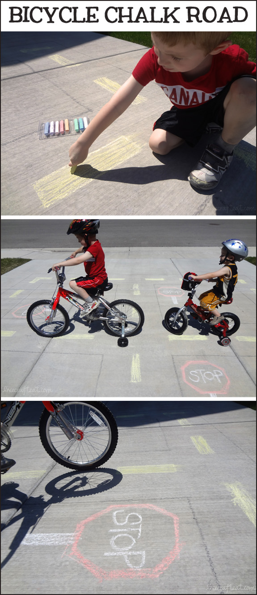 4 activities teaching summer safety bicycle chalk road activity