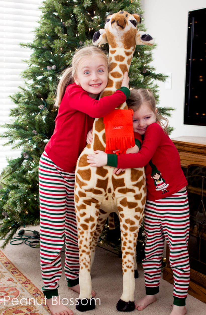 Girls hugging their giant stuffed giraffe