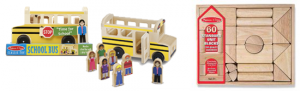 school bus and blocks