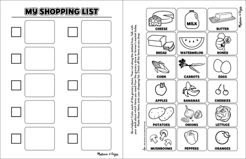 healthy eating shopping list printables