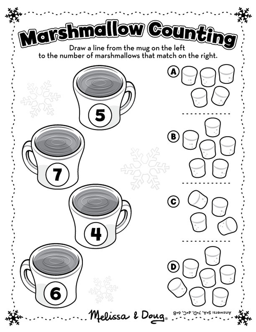hot chocolate printable hot chocolate counting activity page