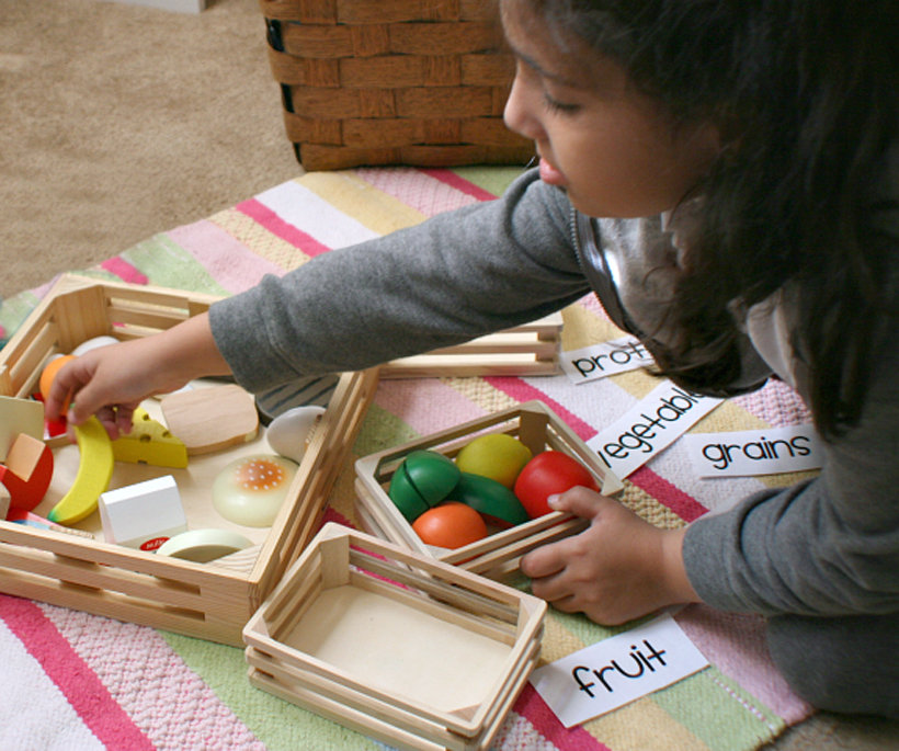 teach your child about food groups sorting pieces