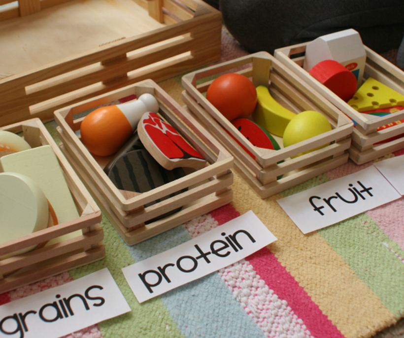 teach your child about food groups crates and name tags