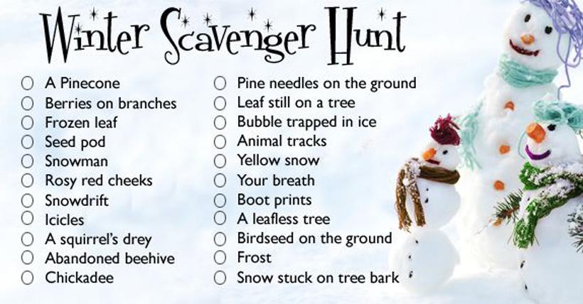 Winter Scavenger Hunt Checklist