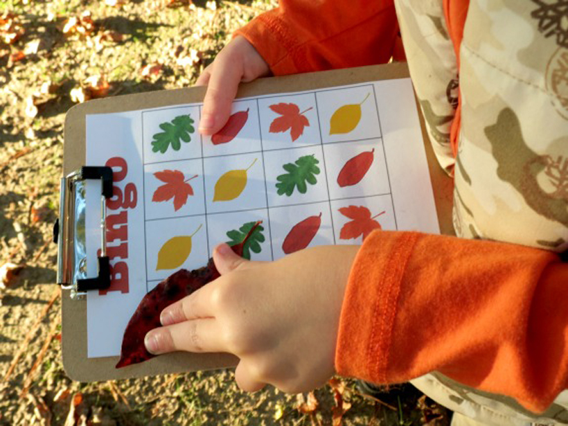 """Fall Leaf Bingo: A Free Printable Family Game *Whether indoors or out, kids will love yelling out """"BINGO"""" with this fall-themed game on the Melissa & Doug Blog."""