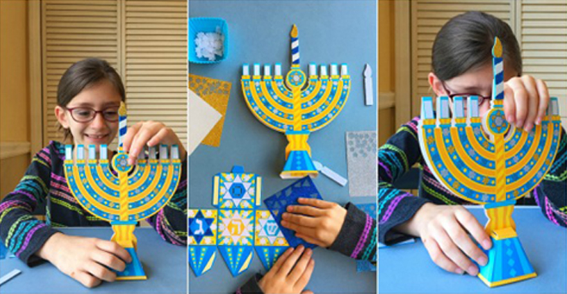 Kid made glittery Hanukkah craft