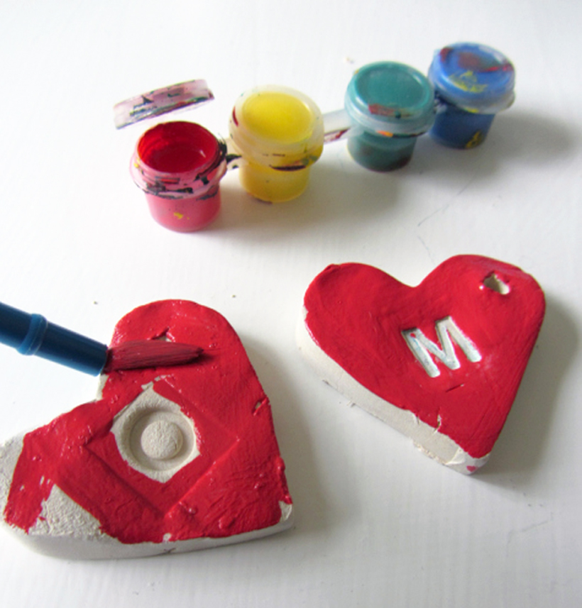 Clay Initial Hearts Learning Letters