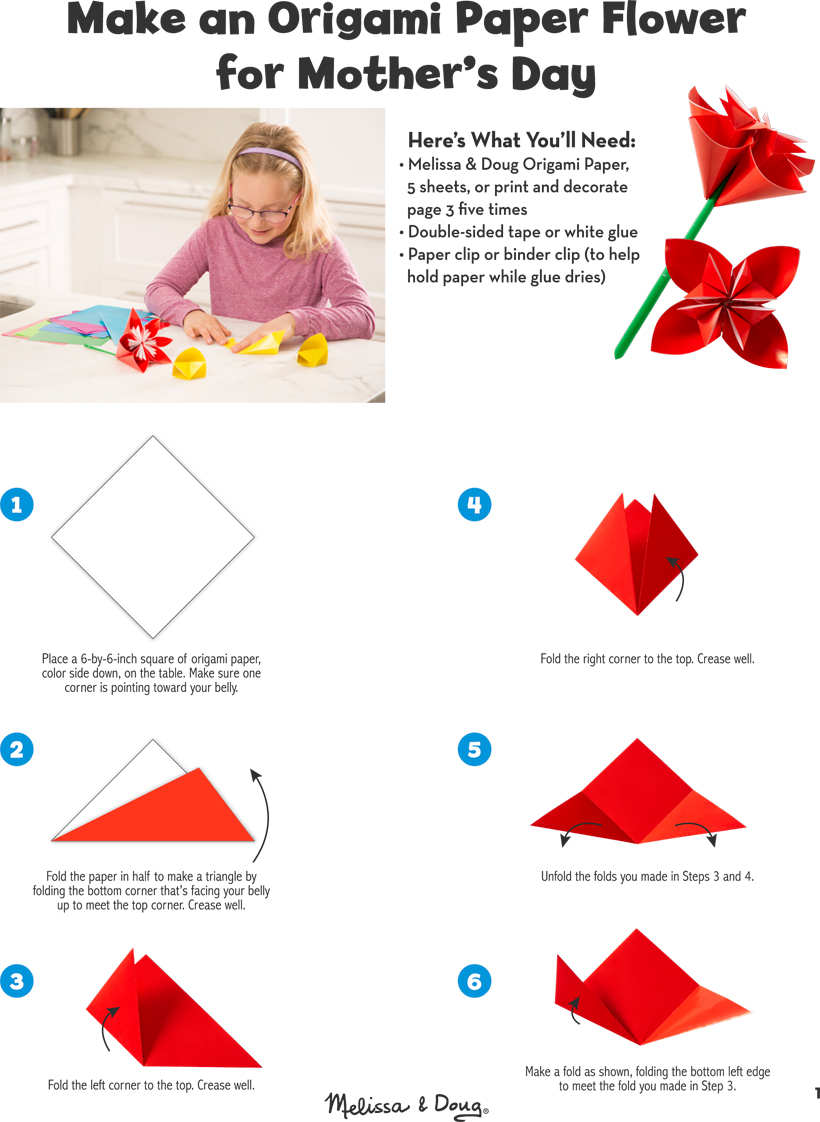 Diy origami paper flower for mothers day melissa doug blog diy craft make an origami paper flower for mothers day jeuxipadfo Images