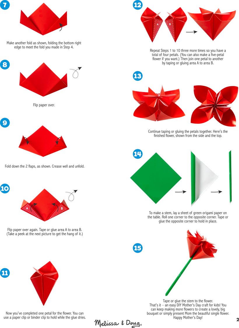diy origami paper flower for mother�s day melissa