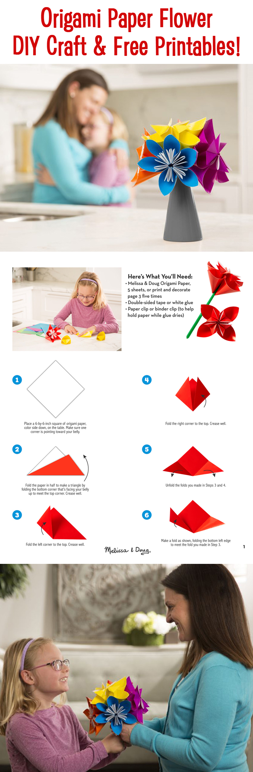 DIY Craft Origami Paper Flower for Mother's Day