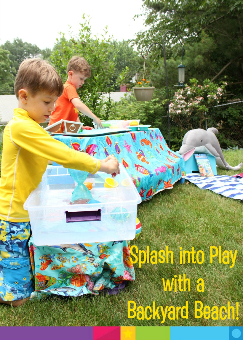 Bring the beach to the backyard! Having a special playtime theme made finishing the school year more exciting, plus, it set the scene for creative playtime this summer! Just add water (and sand!) It's easy.