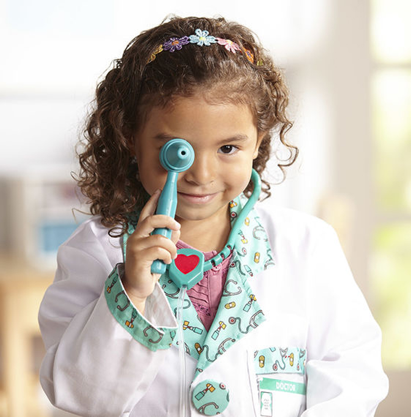 """Pretend Play with a Purpose Doctor Visits with Kids *Children with anxiety about a doctor visit, a dentist appointment or a haircut appointment can become more comfortable through role play with the Melissa & Doug Doctor Role Play Set, Pediatric Nurse Role Play Set, Hair Stylist Role Play Set and Mine to Love 12"""" Dolls."""