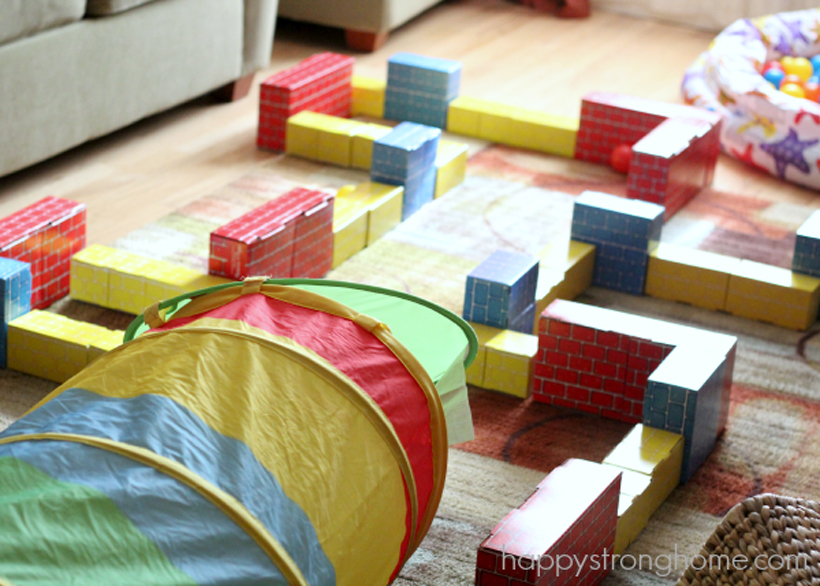 Rainy day block activities *One rainy day we set up an indoor rainy day block maze for the kids, using Melissa & Doug Jumbo Cardboard Blocks.