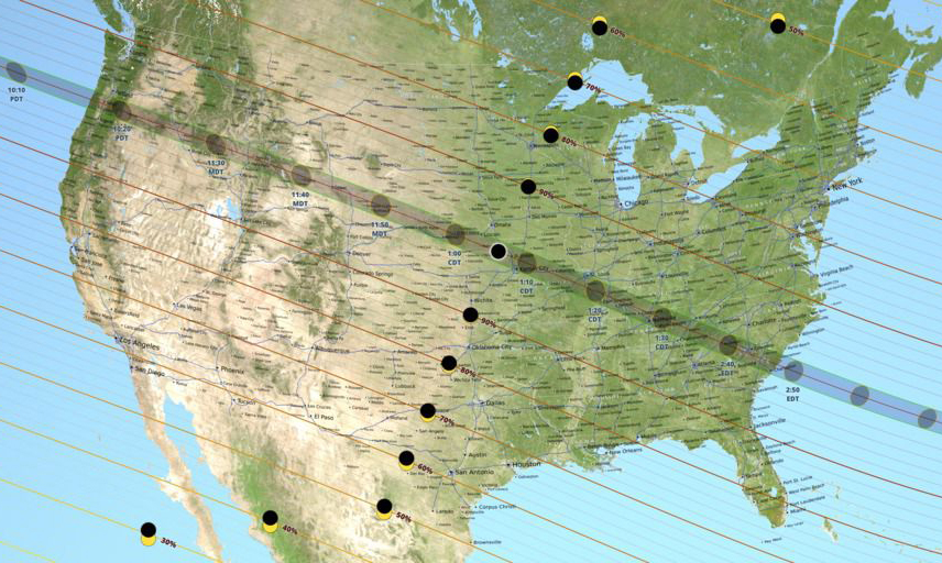 The path of the total solar eclipse. Image: NASA