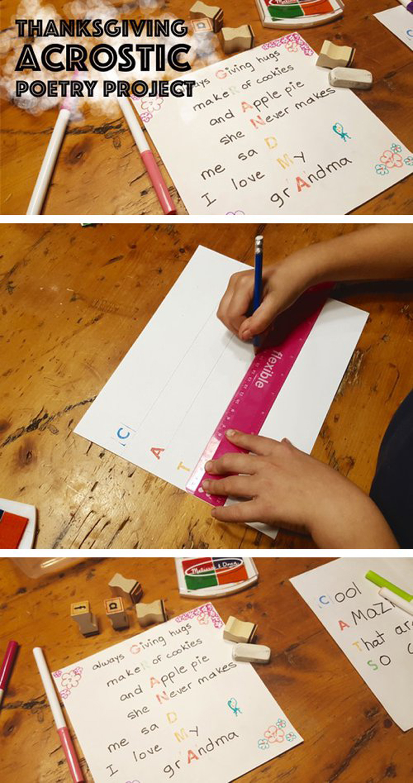 Being Thankful – An Acrostic Poem Project *See how kids can share thankful thoughts and communicate feelings by creating Acrostic poems with family, on the Melissa & Doug Blog.