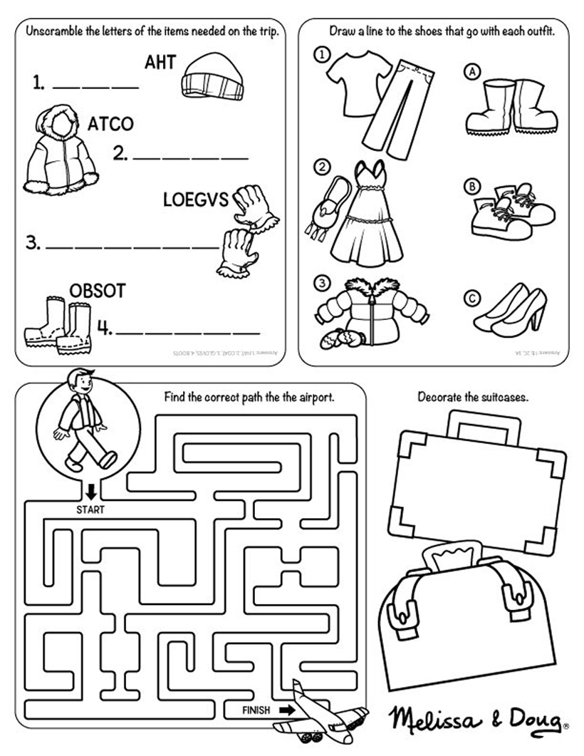 Travel Printable for Kids *Help kids have fun preparing for winter travel this holiday season with this handy travel printable on the Melissa & Doug Blog.