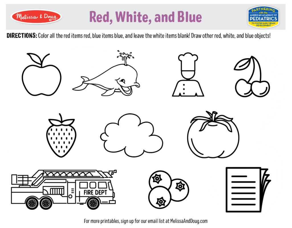 Red, White, and Blue Printable