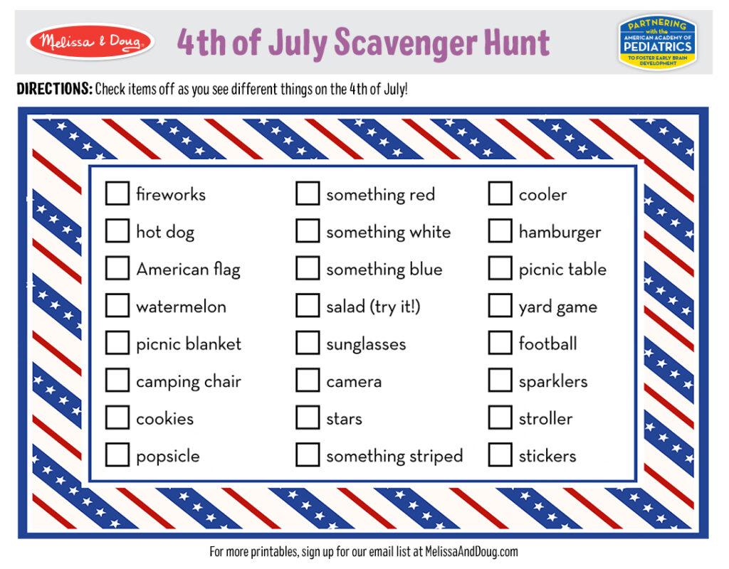 4th of July Scavenger Hunt Printable