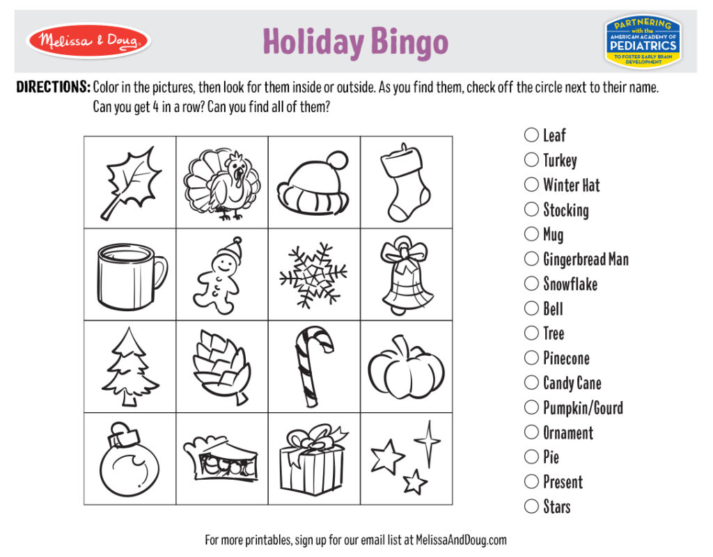 Holiday Printables - Holiday Bingo Game Image