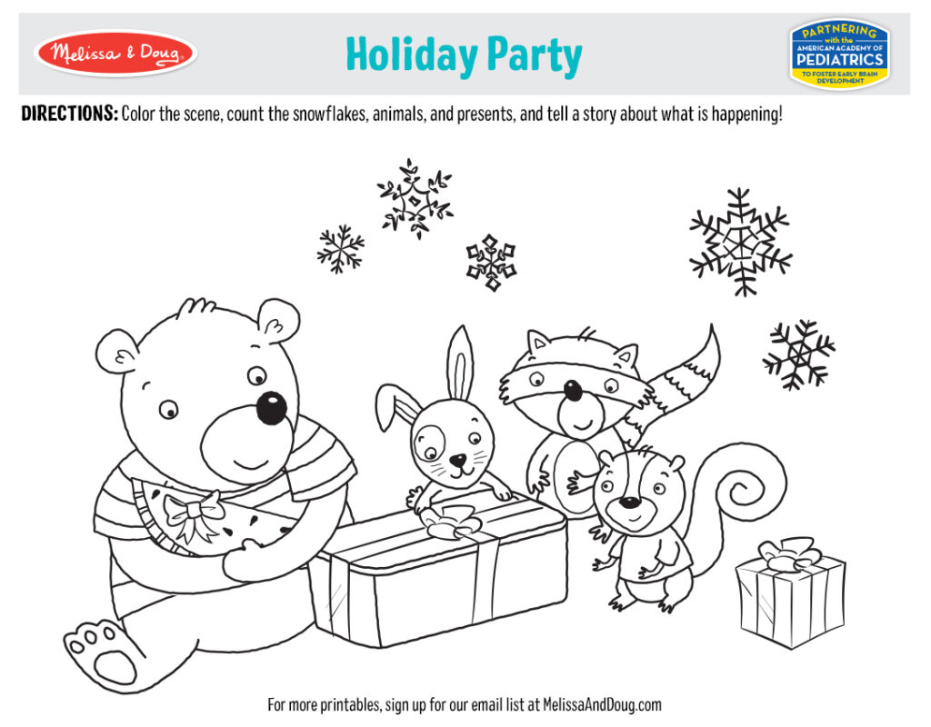 Holiday Printables - Holiday Party Placemat Coloring Activity