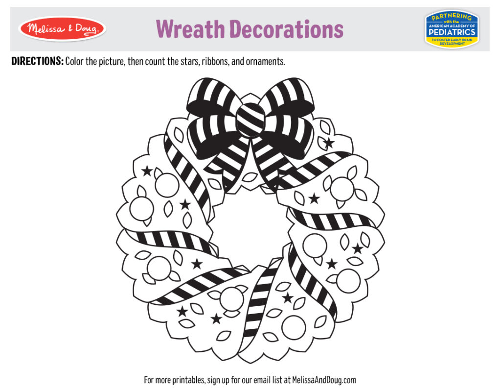 Holiday Printable: Wreath Decorations Coloring Activity