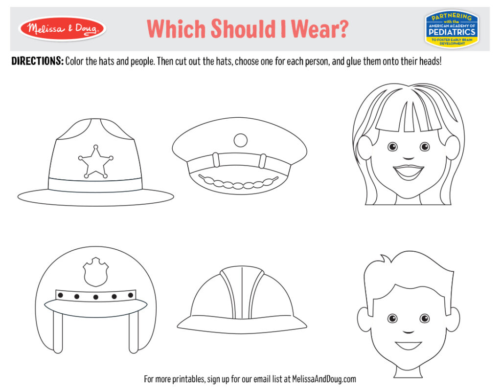 Printable - Hat Coloring and Cutting