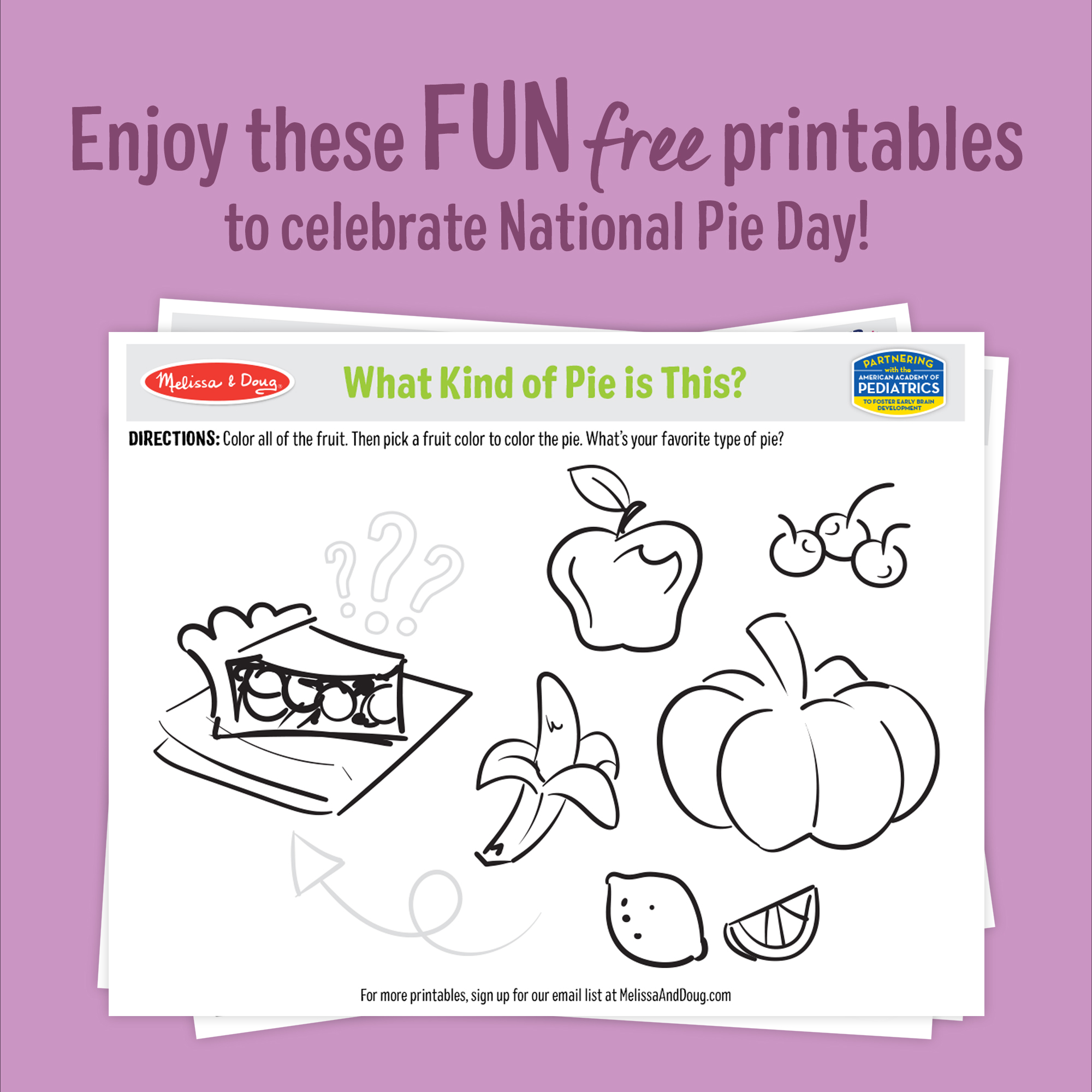 Celebrate National Pie Day with these fun and free printables for kids of all ages!