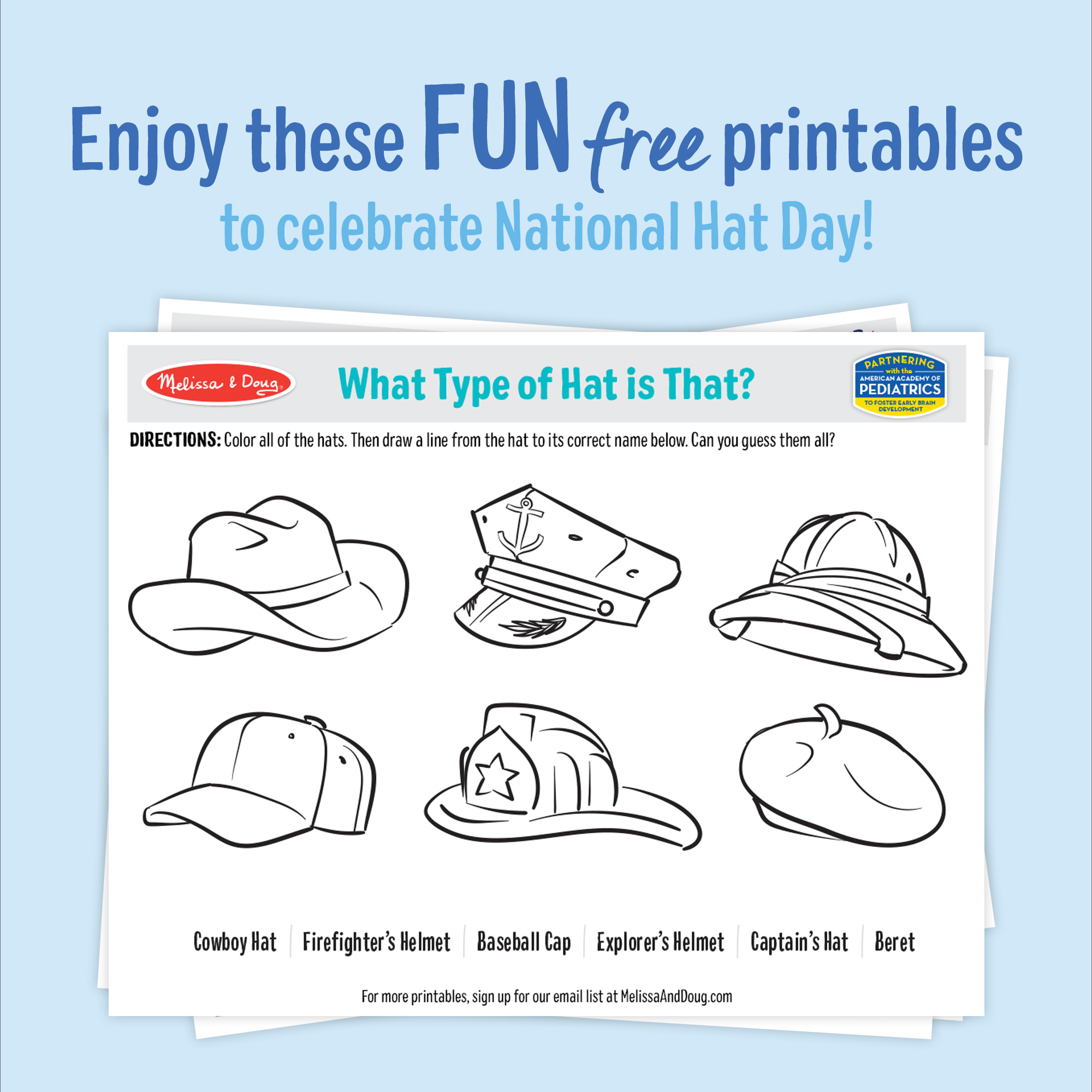 2 Free Printables: Celebrate National Hat Day!