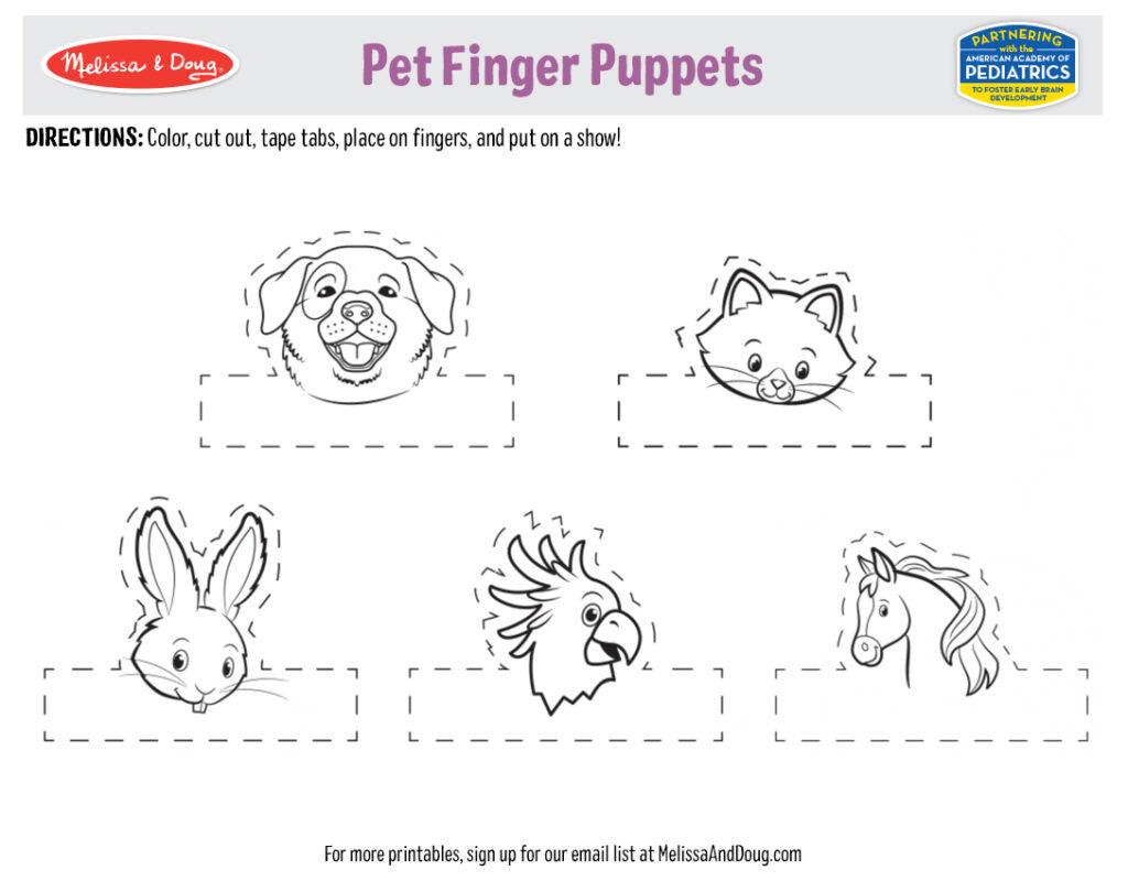Printable - Pet Finger Puppets Activity