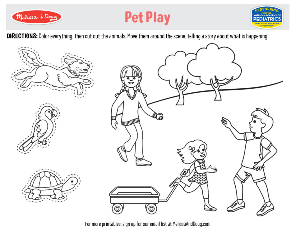 Printable - Pet Play Coloring Activity