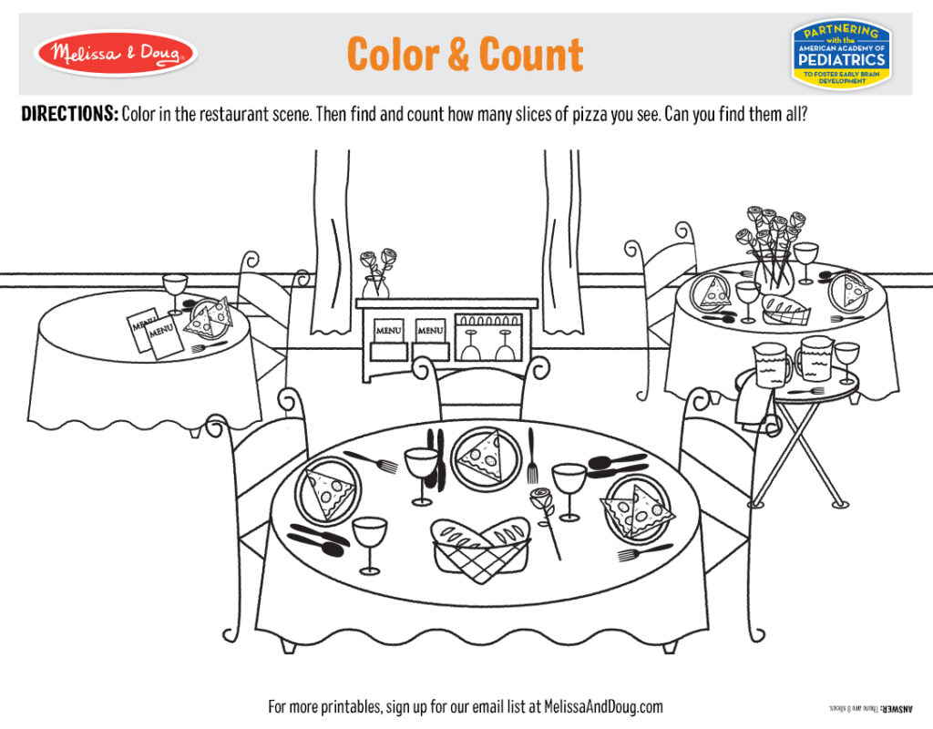 Printable - Color & Count Pizza Activity