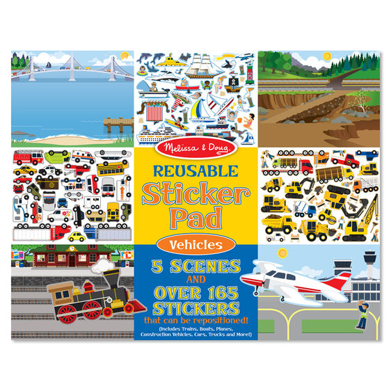 Melissa & Doug Reusable Sticker Pad- Vehicles