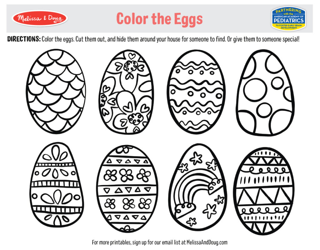 Printable - Color the Eggs Activity