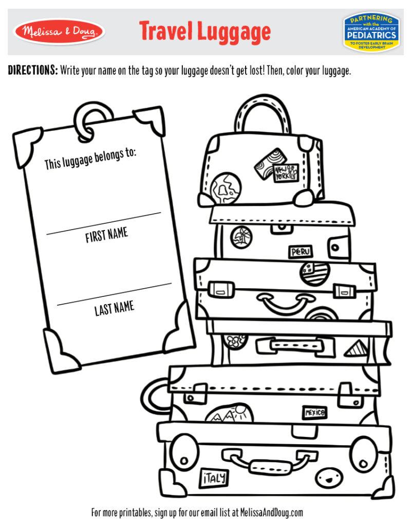 Printable - Travel Luggage Activity