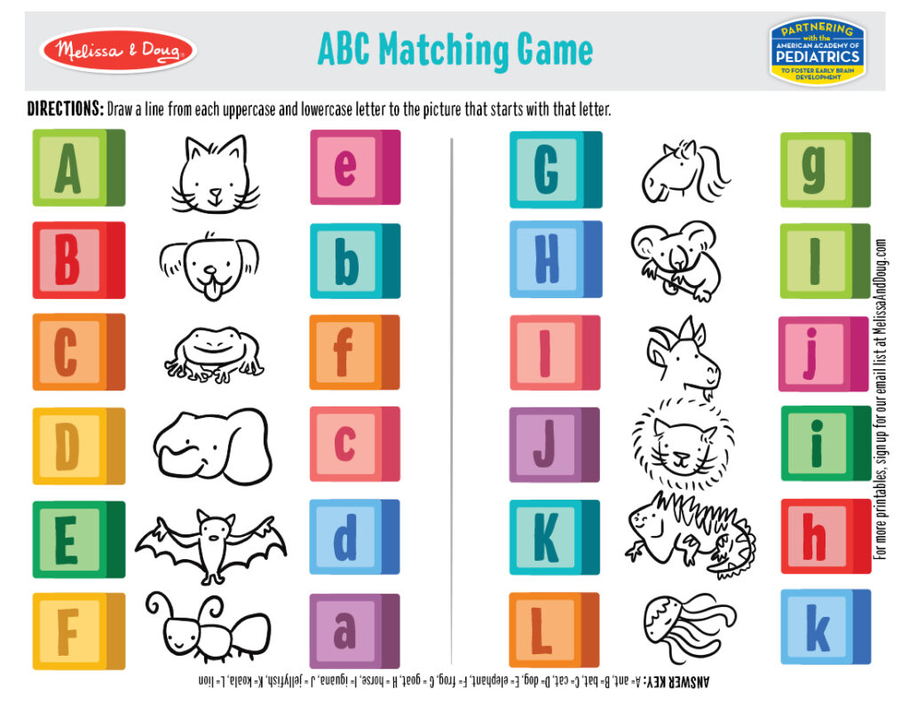 Printable - ABC Matching Game 2 Activity