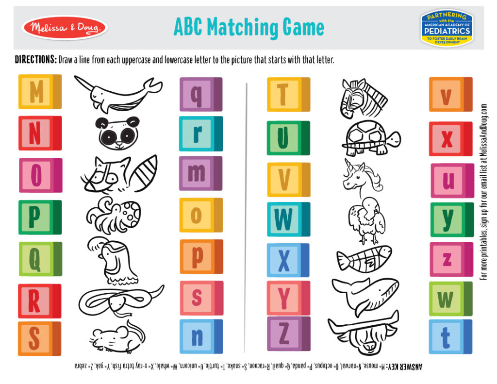 Printable - ABC Matching Game Activity