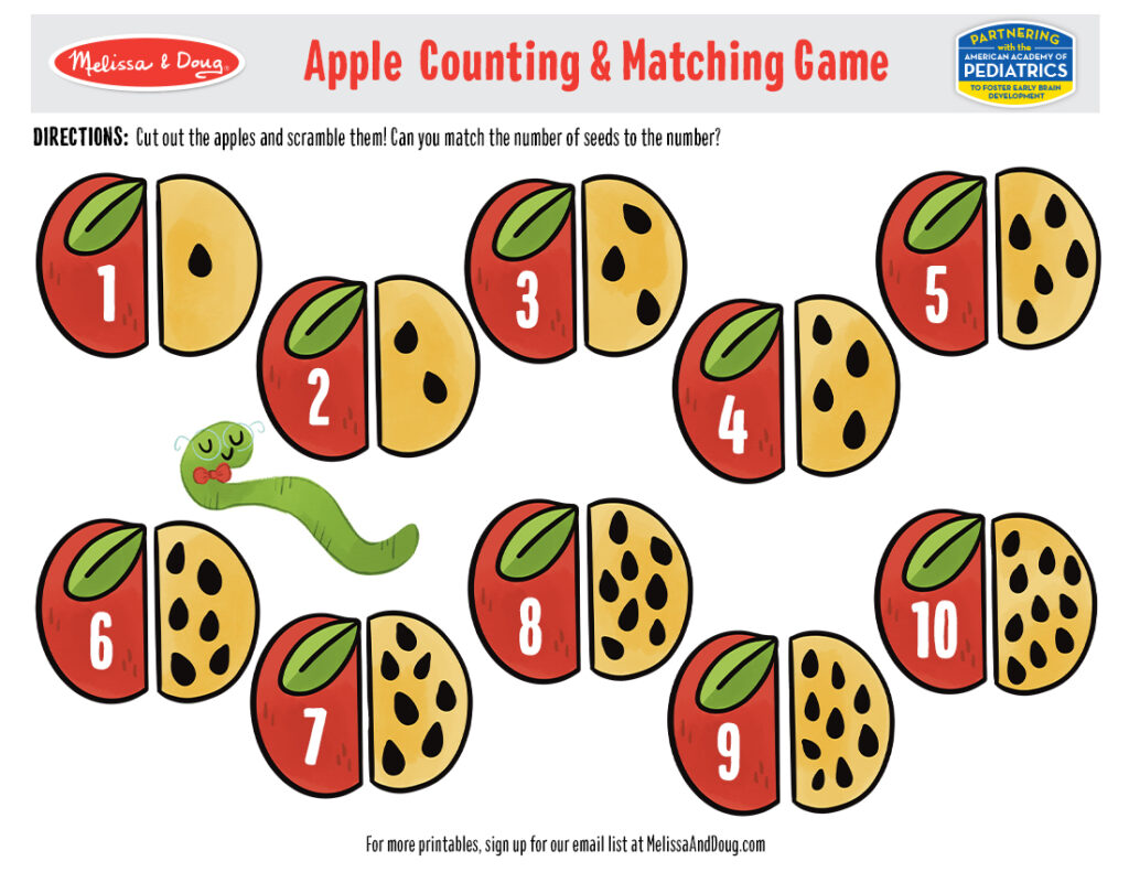 Printable - Apple Counting & Matching Activity