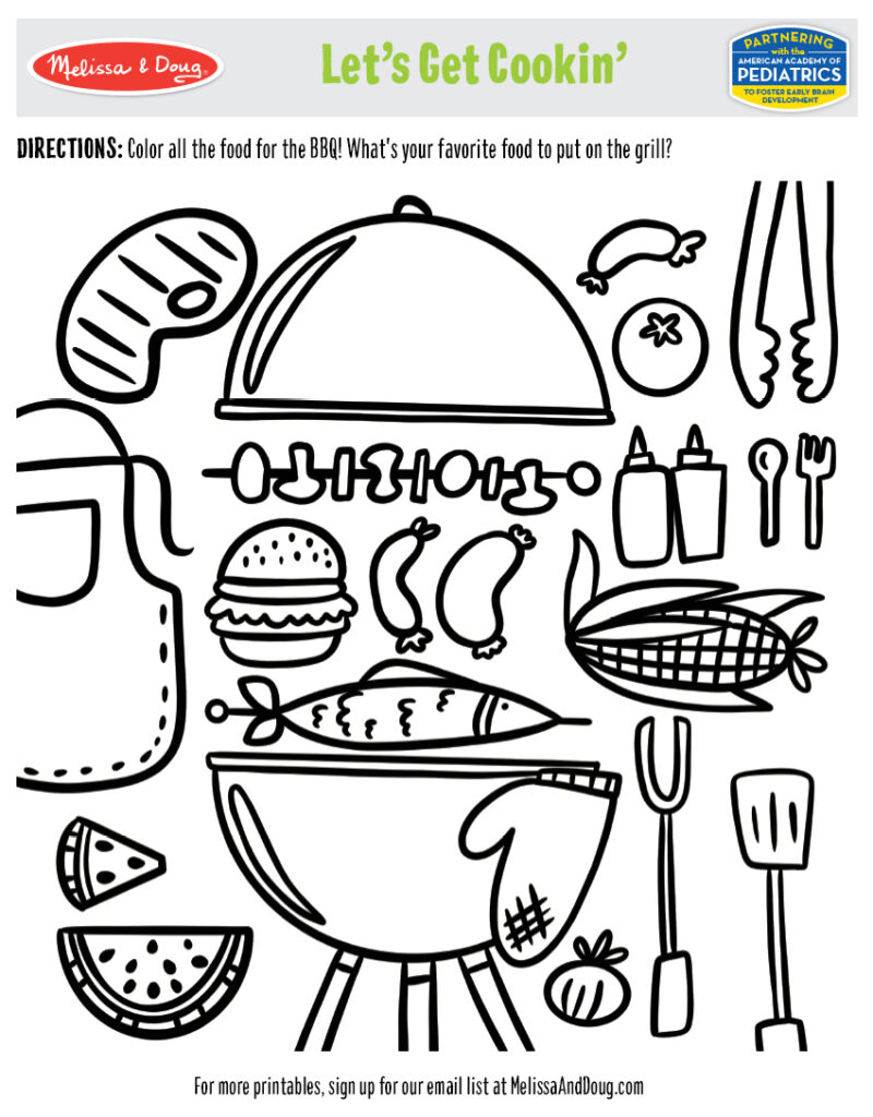 Printable - BBQ Coloring Activity