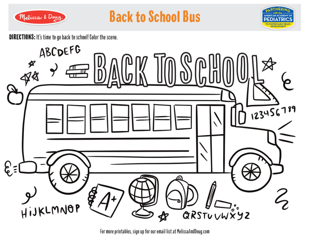 Printable - Back to School Bus Activity