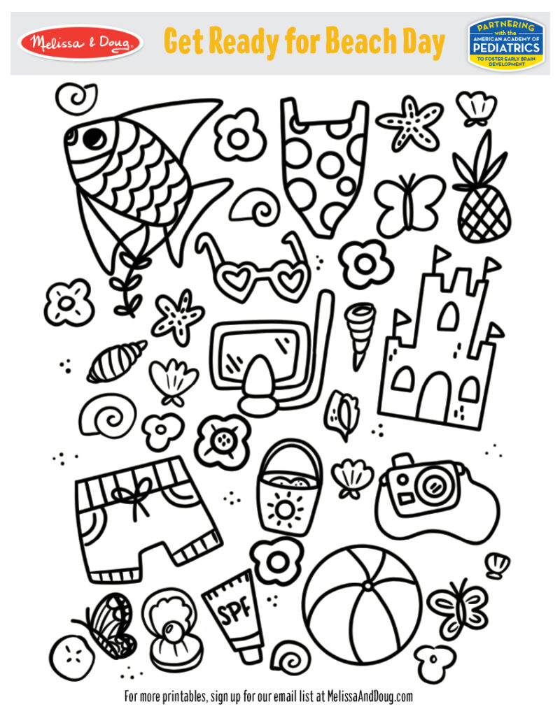 Printable - Beach Day Coloring Activity