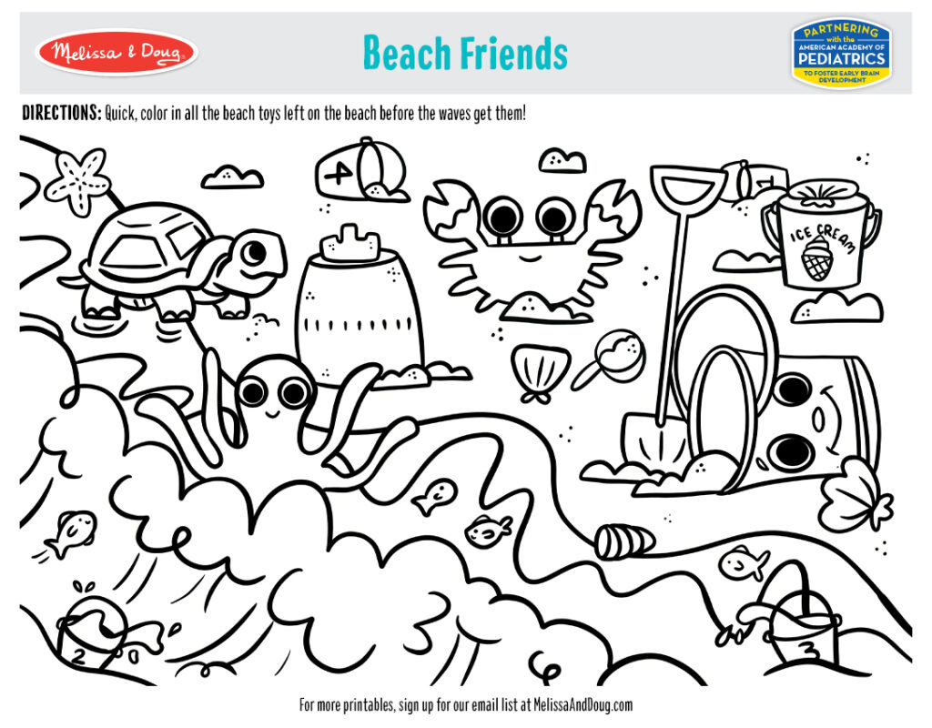 Printable - Beach Friends Coloring Activity
