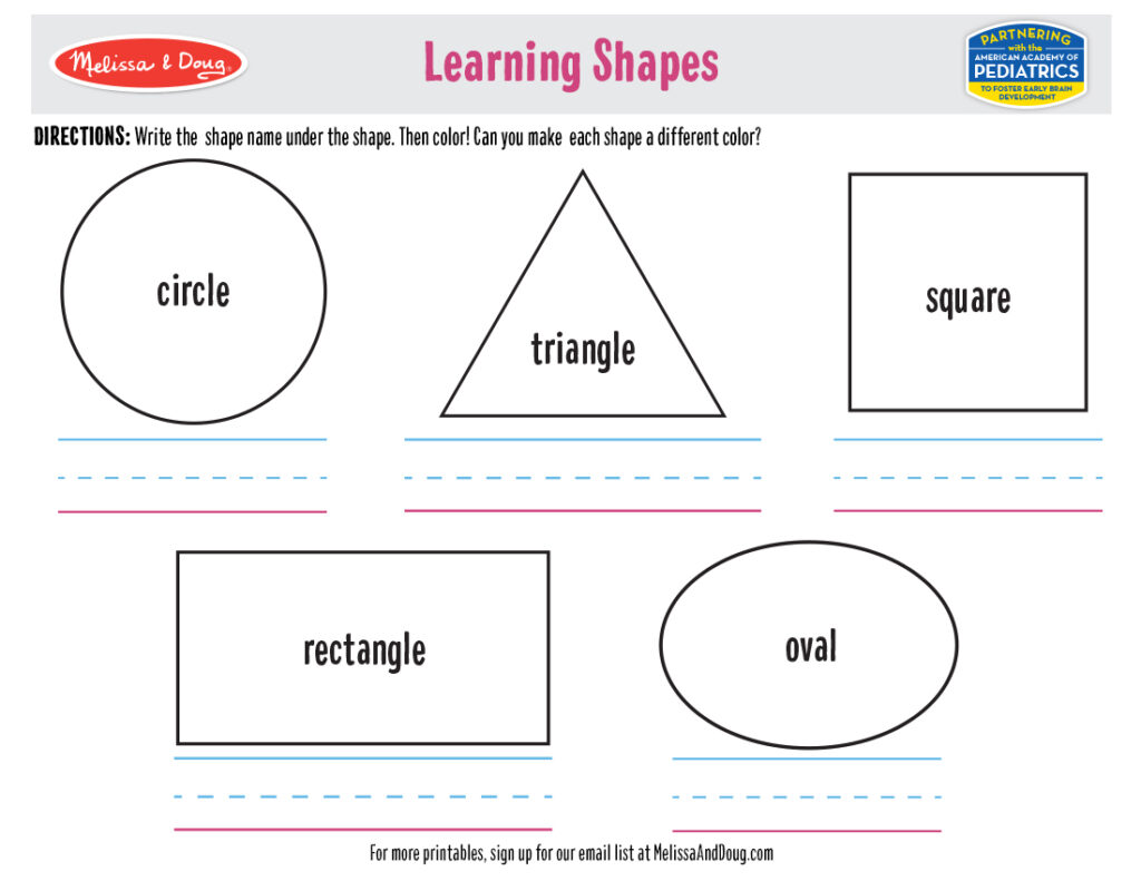 Printable - Learning Shapes Activity