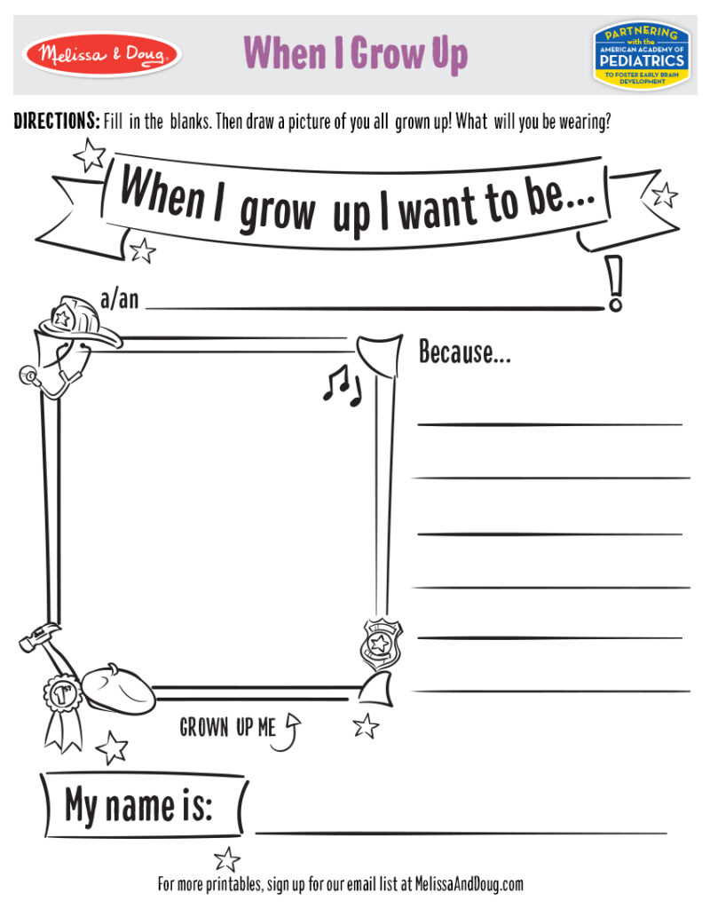 Printable - When I Grow Up Activity