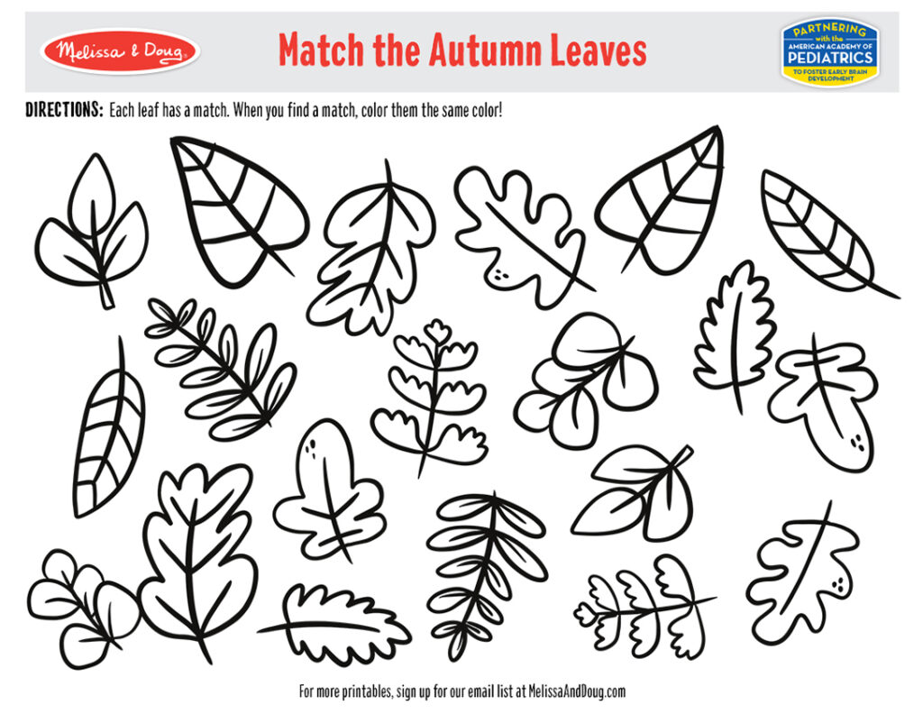 Printable - Match the Autumn Leaves Activity