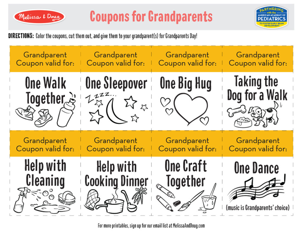 Printable - Coupons for Grandparents Activity